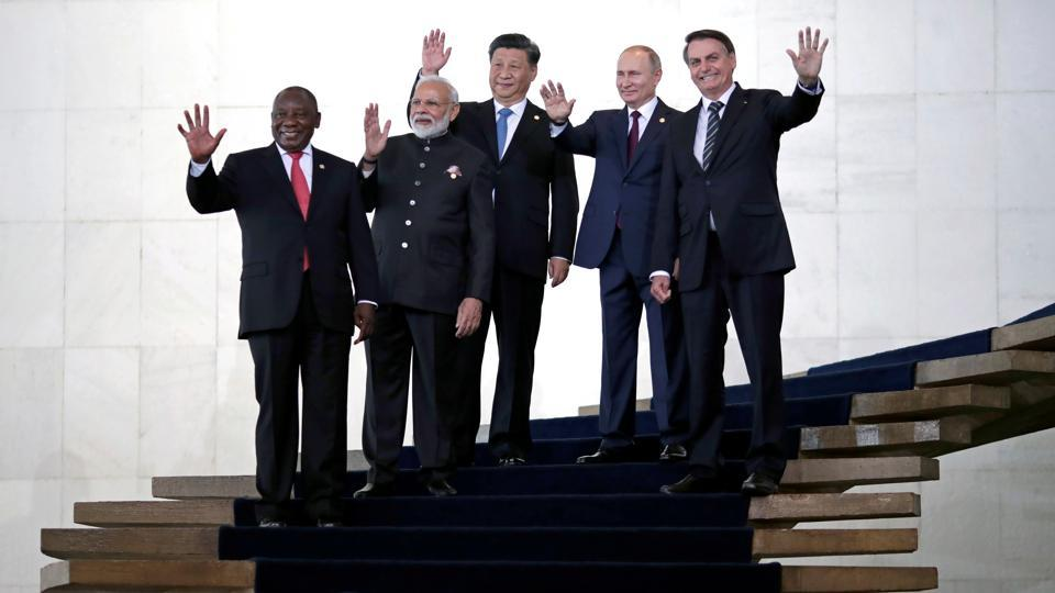 Jair Bolsonaro, Vladimir Putin, Xi Jinping, Narendra Modi, and Cyril Ramaphosa, pose for a  photograph as they arrive for the BRICS summit in Brasilia, Brazil. (Ueslei Marcelino / REUTERS)