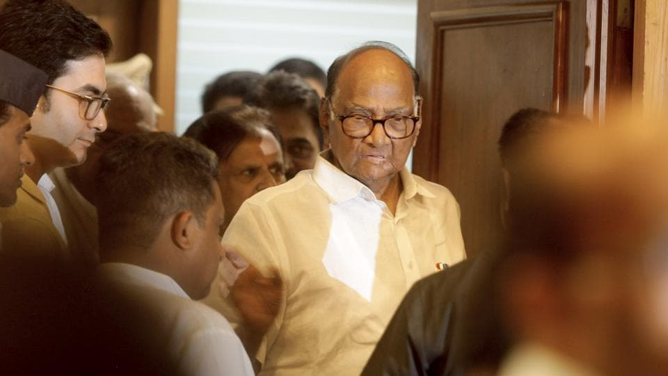 NCP chief Sharad Pawar arrives to address a joint press conference at YB Chavan center in Mumbai.
