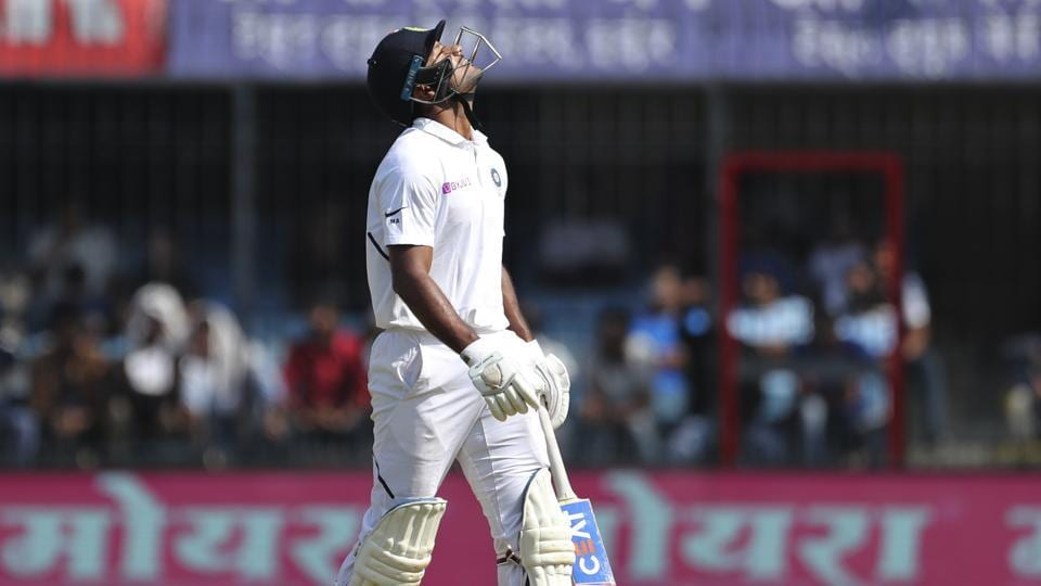 India's Mayank Agarwal reacts after a successful review for his wicket during the second day of first cricket test match between India and Bangladesh in Indore, India.