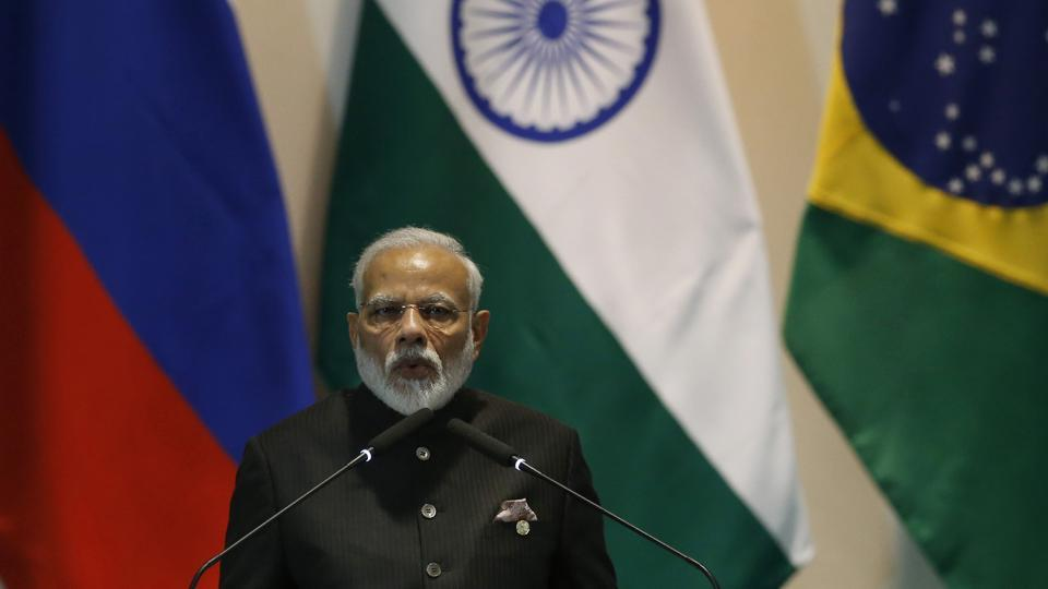 Prime Minister Narendra Modi speaks during the Leaders Dialogue with BRICS Business Council and the New Development Bank, at the Itamaraty Palace in Brasilia, Brazil.
