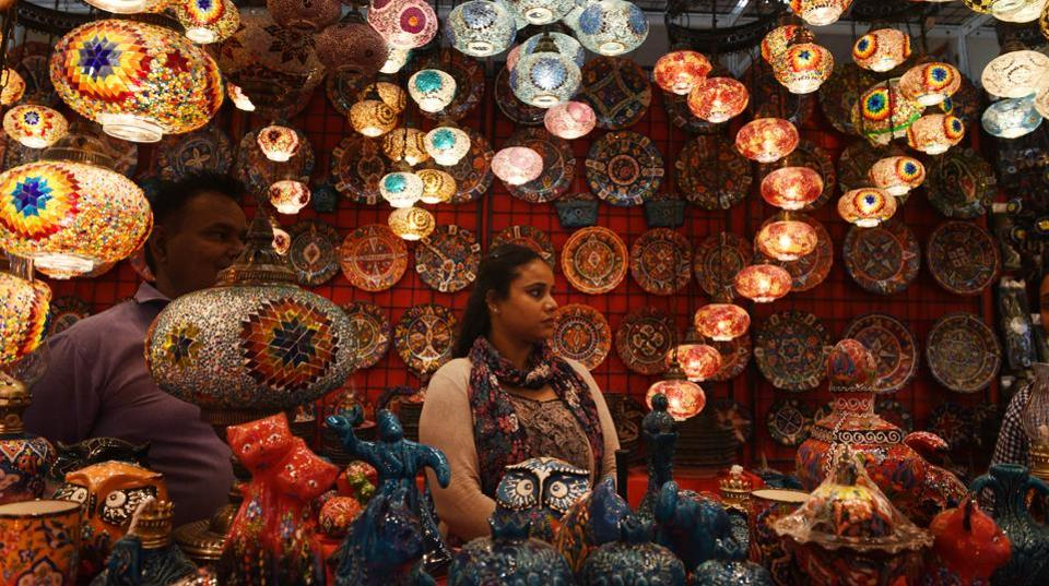 People are seen at a Turkish stall at the International Pavilion of the 39th edition of India International Trade Fair, at Pragati Maidan. The theme for the 39th edition of the fair (November 14-27, 2019) is 'Ease of Doing Business' inspired by India's unique achievement for rising to the 63rd rank on the World Bank's Ease of Doing Business Index from 142nd rank in year 2014. (Vipin Kumar / HT Photo)