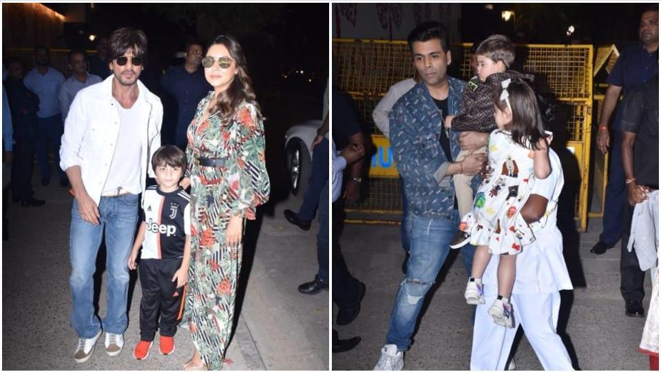 Gauri Khan and Shah Rukh Khan and Karan Johar at Aaradhya Bachchan's birthday bash with their kids.