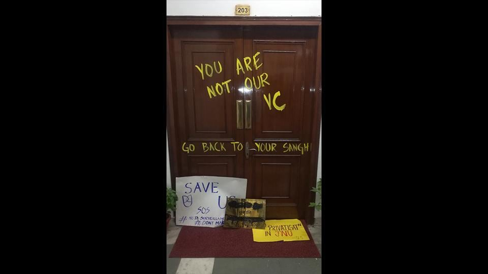 A view of the defaced door to the office of the Vice-Chancellor as part of the student protests against the hostel fee hike and other issues, while the Executive Council meeting was underway somewhere else at the campus, at JNU, in New Delhi. (Vipin Kumar / HT Photo)