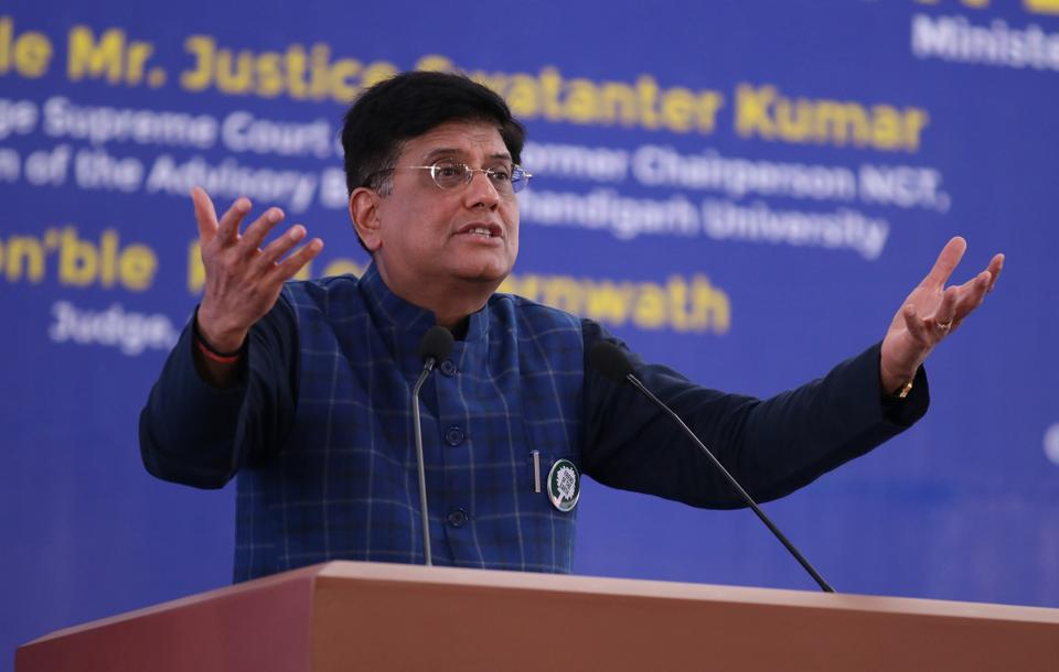 Union minister of railways and commerce Piyush Goyal at a conference on 'Environmental Law: Challenges and Solutions' in Mohali on Saturday.