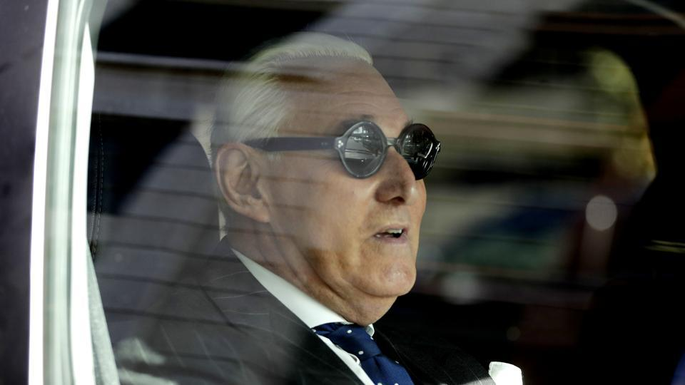 Roger Stone sits in a vehicle while leaving federal court Washington, Friday, November 15, 2019. Stone, longtime friend of President Donald Trump, has been found guilty at his trial in federal court in Washington.