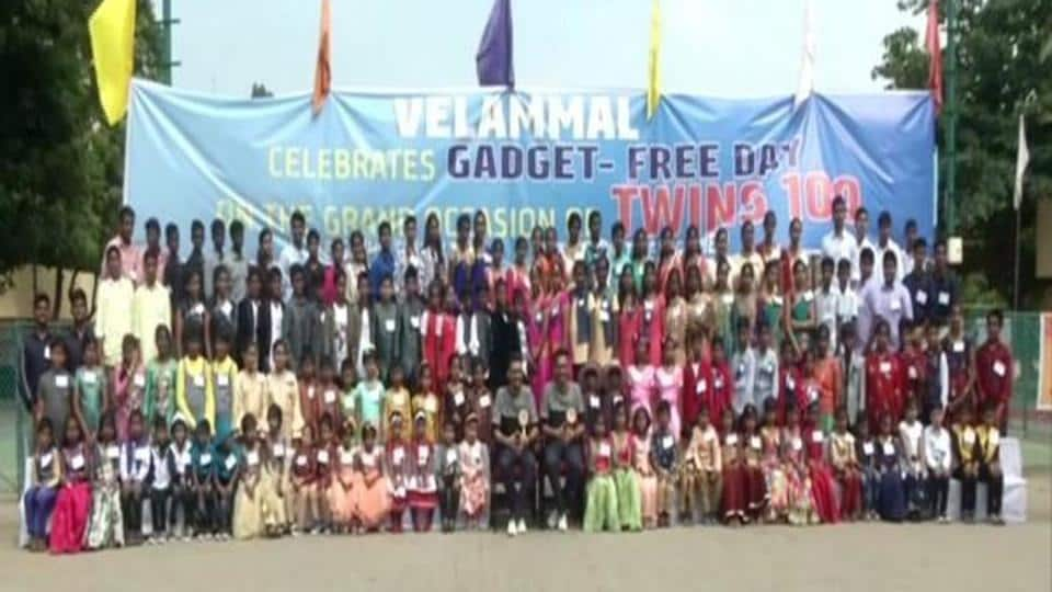 Hundreds of identical twins in Velammal school in Chennai celebrate gadget-free day on Saturday.