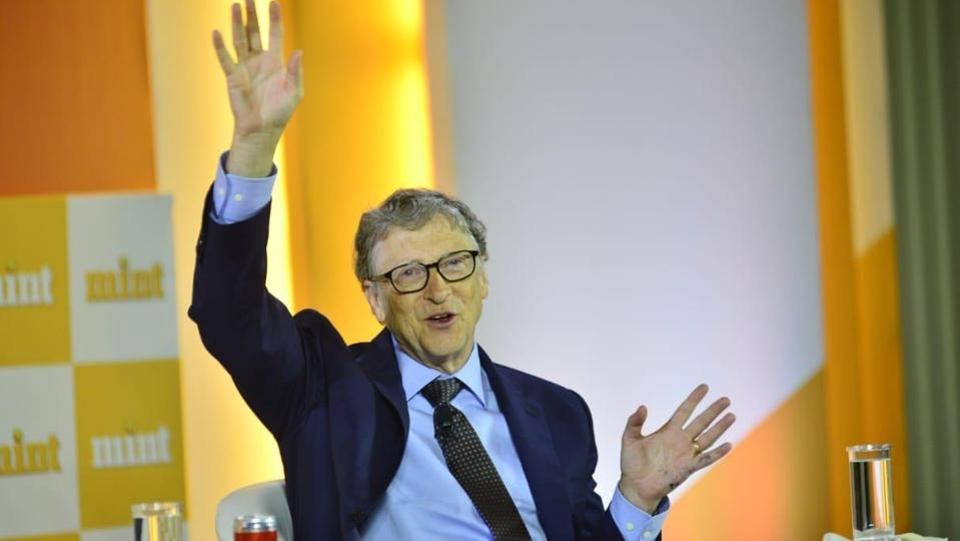 Bill Gates, who co-chairs the Bill and Melinda Gates Foundation, at Mint Visionaries in New Delhi on Sunday.