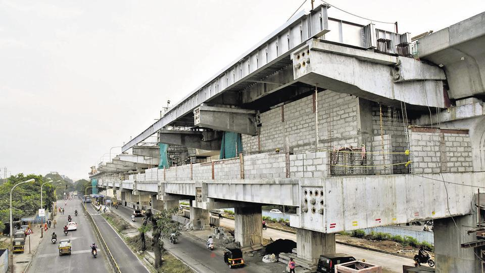 Metro work in progress at Vallabhnagar, in Pimpri. At least 30 per cent work for Reach I and 40 per cent work for Reach II is still pending, according to officials.