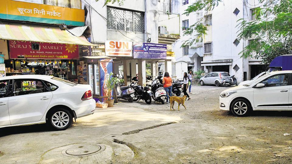 The spot where a street dog was killed near Nirmal Corner building behind Tandoori Point Chowpati on Senapati Bapat road on Thursday.