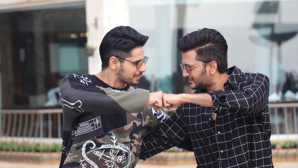 Sidharth Malhotra and Riteish Deshmukh during a programme organised to promote Marjaavaan.