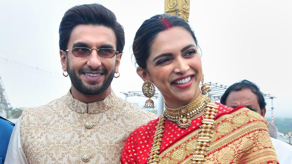Ranveer Singh and Deepika Padukone at Tirumala Tirupati Temple on the occasion of their first wedding anniversary in Chittoor district of Andhra Pradesh.