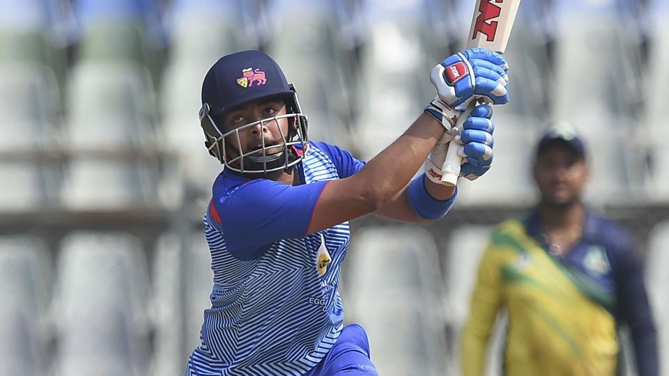Prithvi Shaw plays a shot during the Syed Mushtaq Ali Trophy match against Assam at Wankhede Stadium in Mumbai.