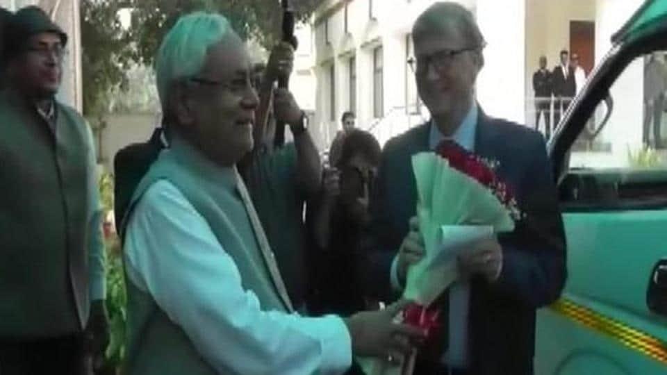 Nitish Kumar meets Bill Gates in Patna on Sunday.