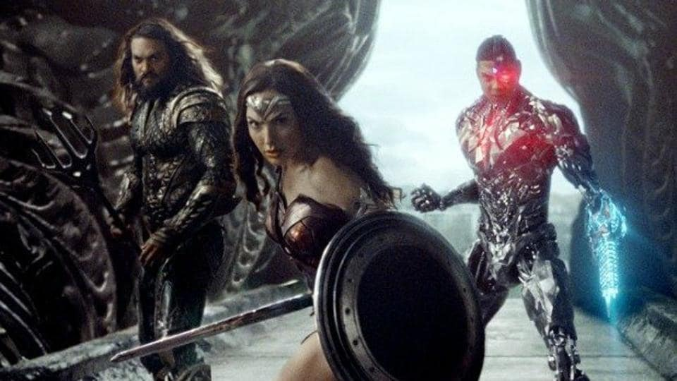 Gal Gadot, Jason Momoa and Ray Fisher in a still from Zack Snyder's cut of Justice League.