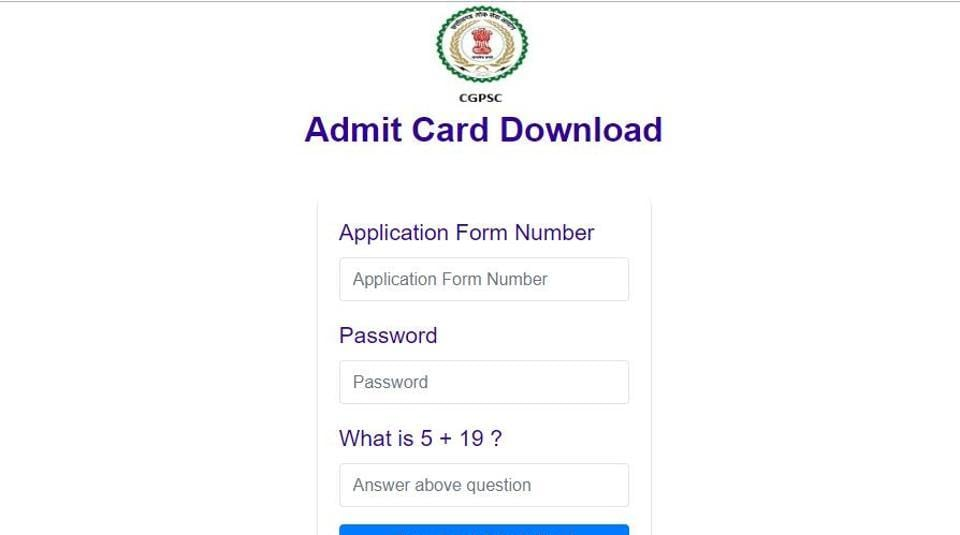 CGPSC  has released the admit card for Librarian and sports officer exam on its official website. (Screengrab)