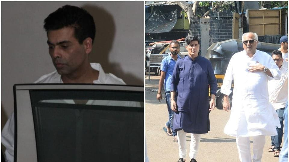 KaranJohar and Boney Kapoor visited Manish Malhotra at his residence.