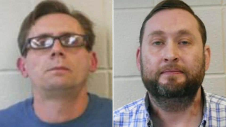 Officials say two chemistry professors in Arkansas have been arrested on charges of manufacturing methamphetamine and using drug paraphernalia.  In the photo: Dr. Bradley Rowland (right),  Dr. Terry Bateman (left).