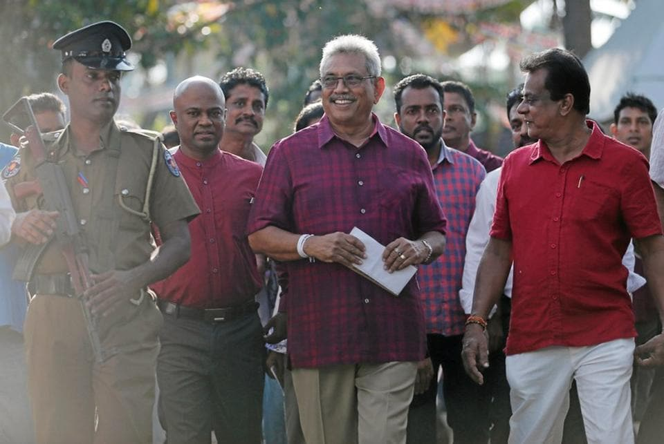 Sri Lanka People's Front party presidential election candidate and former wartime defence chief Gotabaya Rajapaksa leaves after casting his vote during the presidential election in Colombo, Sri Lanka.