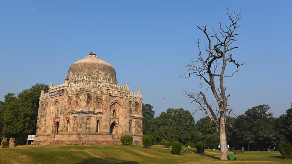 A clear sky is seen at Lodhi Garden as air quality improved in the city, in New Delhi.