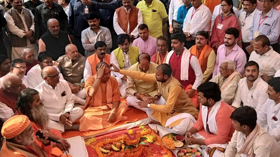 Chief Minister Yogi Adityanath offer prayers during the inauguration of the Sugar factory and power plant, in Gorakhpur on Sunday.