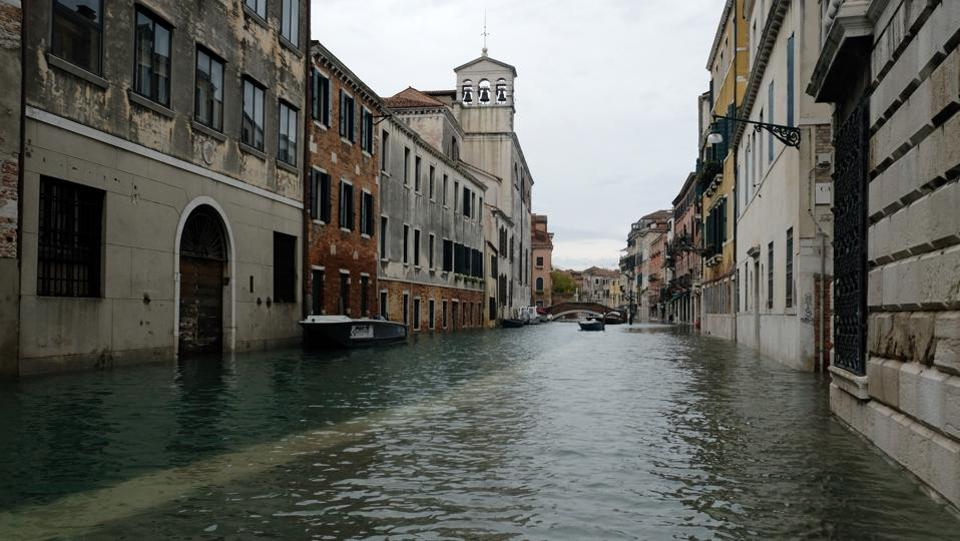A view of a flooded street during a period of seasonal high water in Venice, Italy, November 17, 2019.