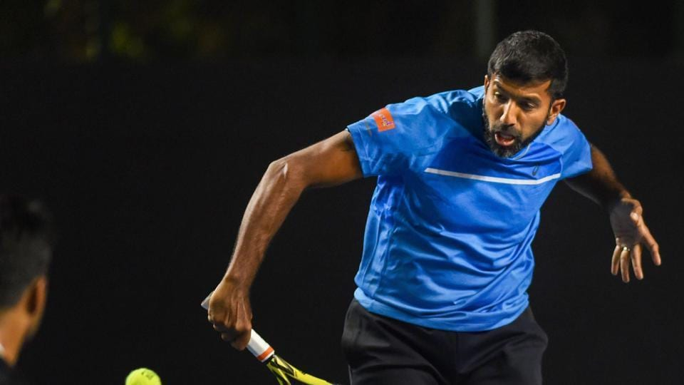 Rohan Bopanna during a match against Leander Paes and Reyes Varela at Tata Open Maharashtra 2019.