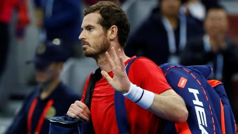 Andy Murray reacts after the match against Dominic Thiem.