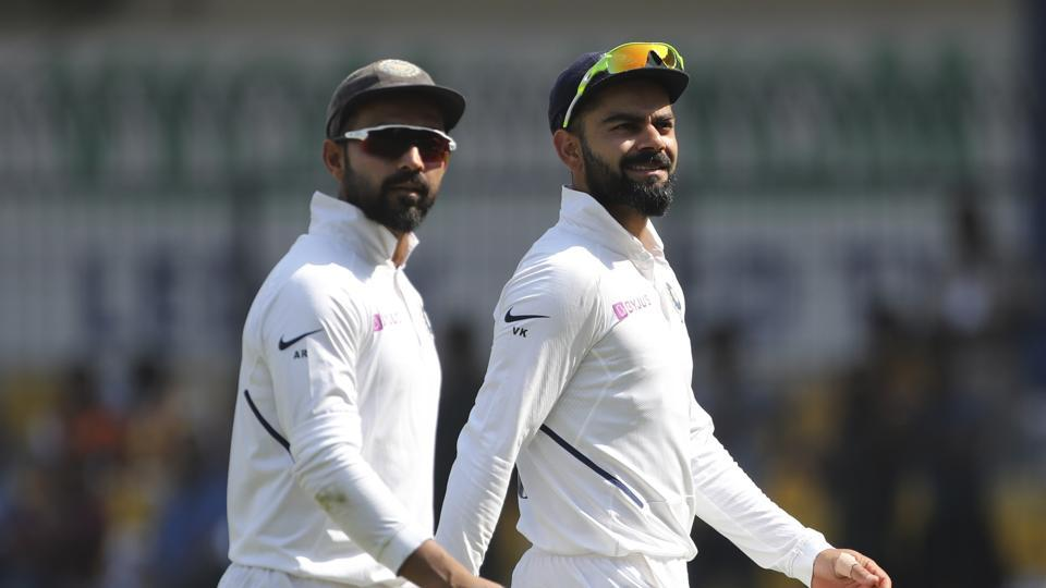 Virat Kohli, right, and Ajinkya Rahane during the first Test match between India and Bangladesh in Indore.