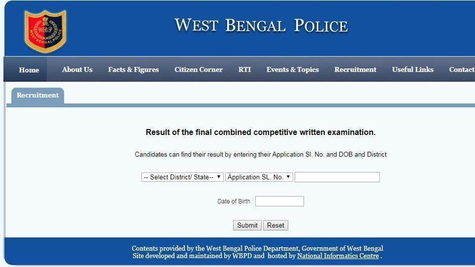 West Bengal Police has declared the result of the final combine competitive written exam for the recruitment of Sub-Inspector and Lady Sub-Inspector of Excise under Department of Finance,Govt of West Bengal, 2018.