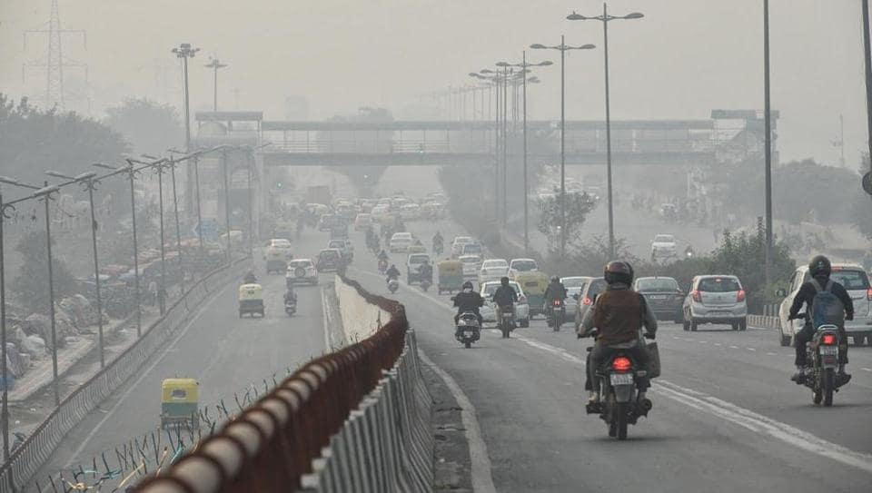 A view of the Akshardham flyover in  Delhi as air quality improved in the city on Tuesday.