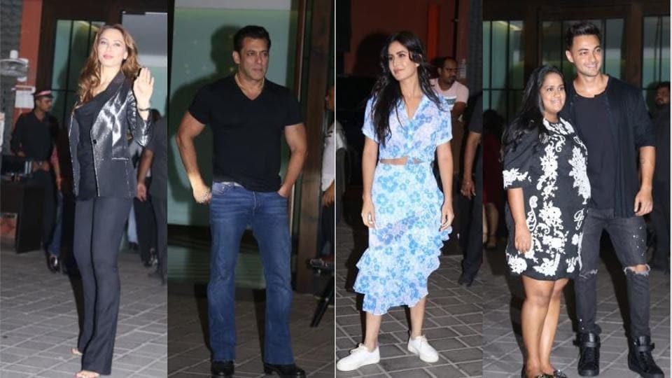 Iulia Vantur, Salman Khan, Katrina Kaif attend Arpita Khan and Aayush Sharma's wedding anniversary bash.