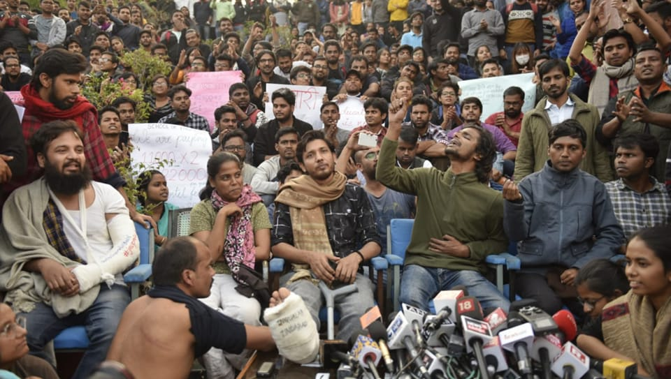 """The Jawaharlal Nehru University moved the Delhi high court against the students for """"gross violation"""" of the court's previous order by protesting within 100 metres of the administrative block."""