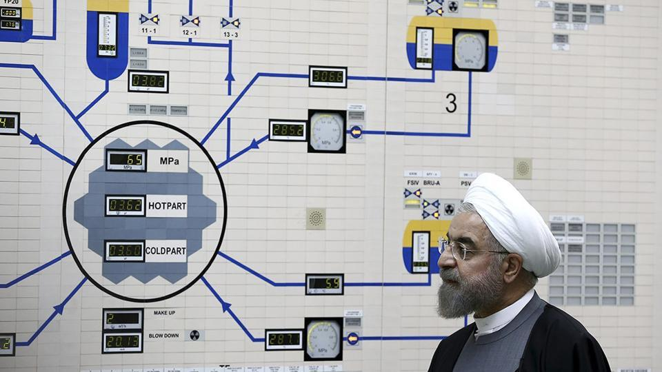 FILE - In this Jan. 13, 2015, file photo released by the Iranian President's Office, President Hassan Rouhani visits the Bushehr nuclear power plant just outside of Bushehr, Iran.