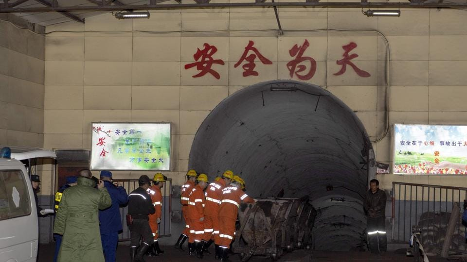 In this photo released by China's Xinhua News Agency, rescuers enter a coal mine that was the site of a gas explosion in Pingyao county in northern China's Shanxi Province, Tuesday, Nov. 19, 2019.