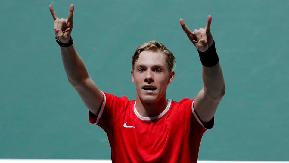 Canada's Denis Shapovalov celebrates winning his group stage match against Italy's Matteo Berrettini.