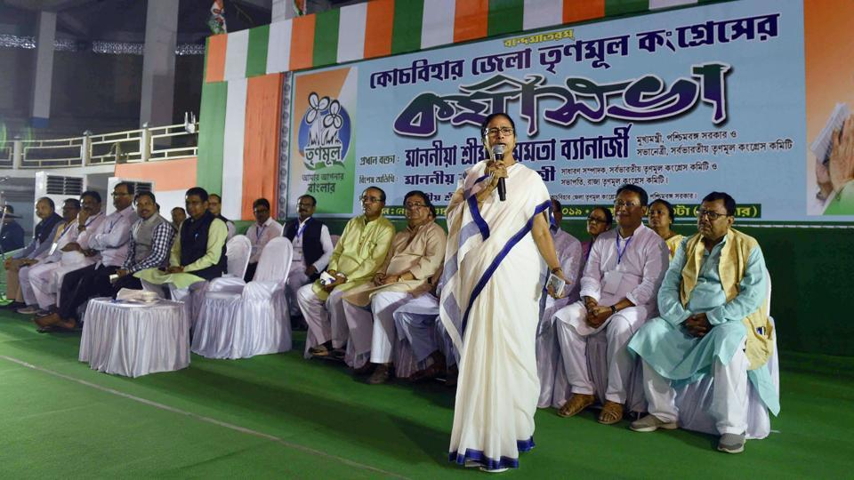 West Bengal Chief Minister and Trinamool Congress supremo Mamata Banerjee addresses a party workers meeting, in Cooch Behar  on Monday.