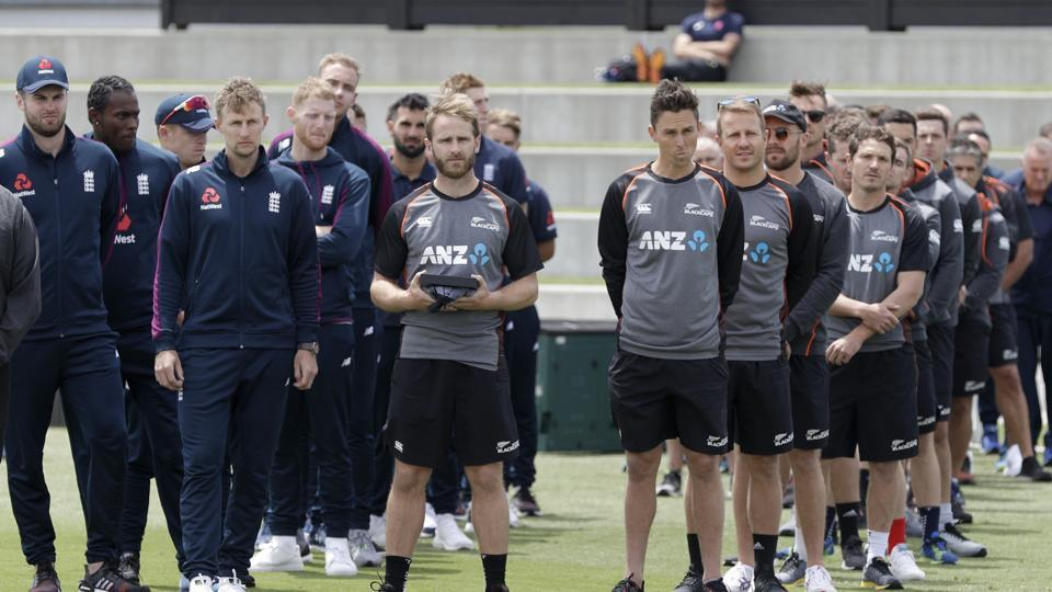 New Zealand and England players watch as local maori perform a haka during an official welcome ceremony ahead of the first cricket test at Bay Oval in Mount Maunganui
