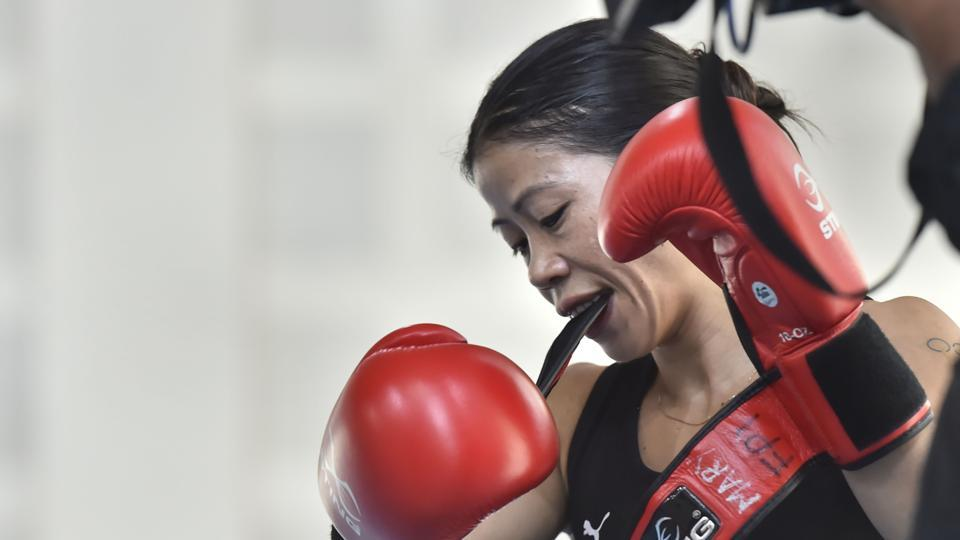 Mary Kom during the practice session at IG Stadium, in New Delhi.