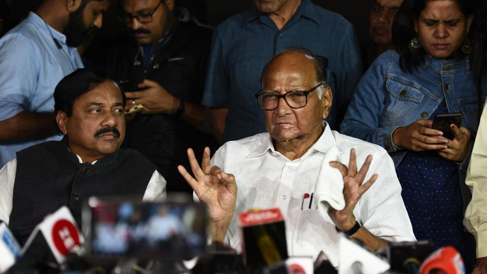 NCP leader Sharad Pawar speaks to media after a meeting with Sonia Gandhi at his residence, in New Delhi.