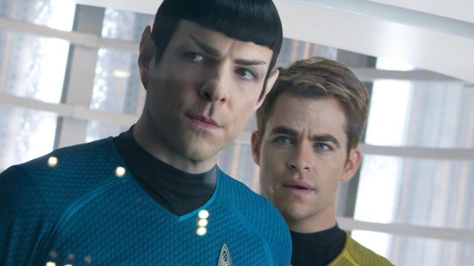 Chris Pine and Zachary Quinto in a still from Star Trek.