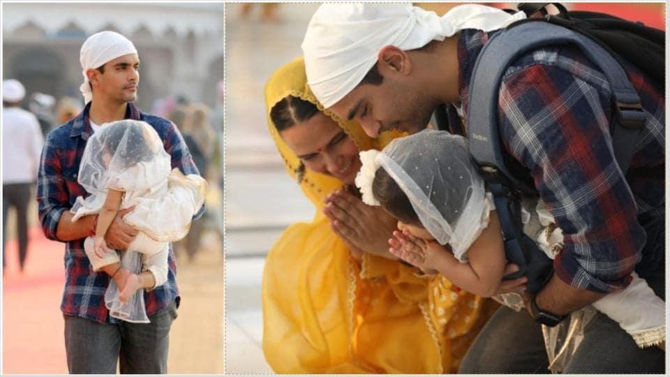 Neha Dhupia and Angad Bedi took Mehr to Amritsar.