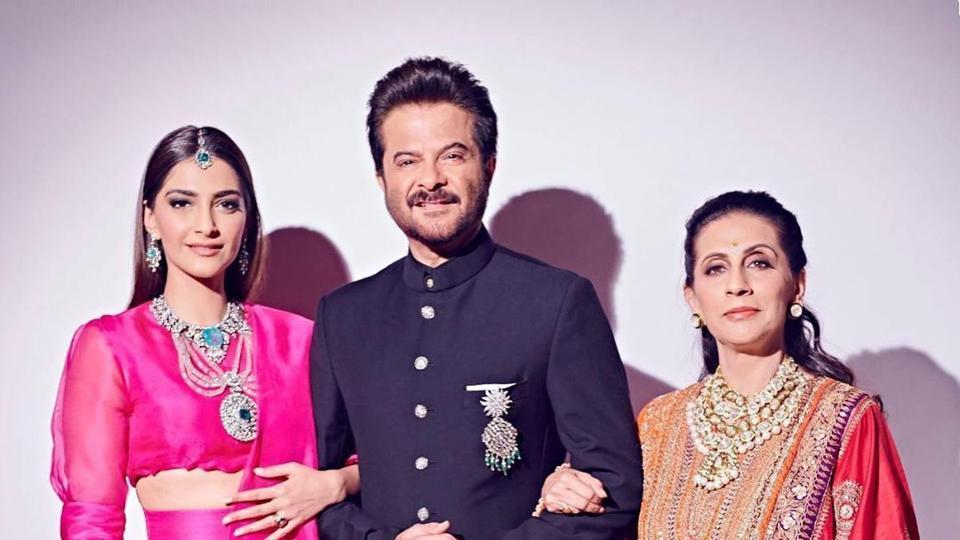 Anil Kapoor with daughter Sonam Kapoor and wife Sunita.