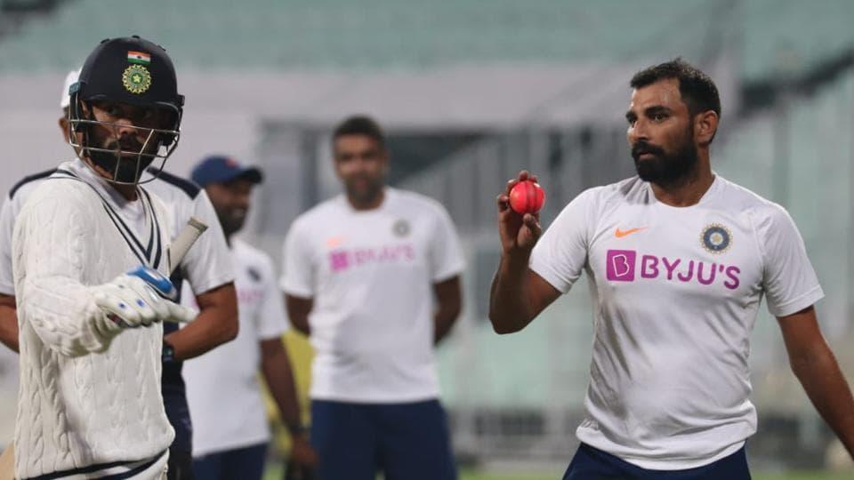 Mohammed Shami with the pink ball at training inKolkata.