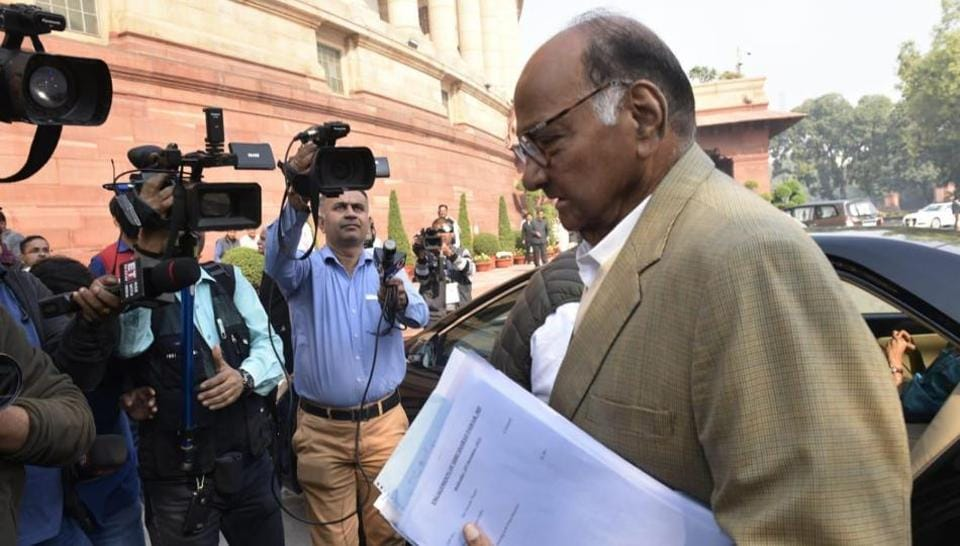 NCP chief Sharad Pawar arrives in Parliament on Wednesday. He is slated to meet PM Narendra Modi later in the day.