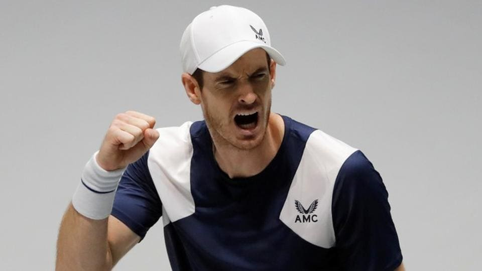 Britain's Andy Murray reacts during his match against Netherlands.