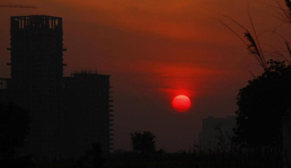 A view of the sunset at Sector 84, in Gurugram, on Tuesday, November 19, 2019.  According to experts, the city's cleaner air can be attributed to wind speed and direction .