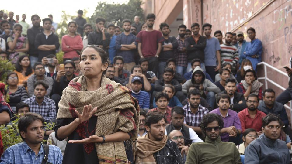 JNUSU president Aishe Ghosh , at Freedom Square, JNU campus, in New Delhi, on Tuesday, November 19, 2019.