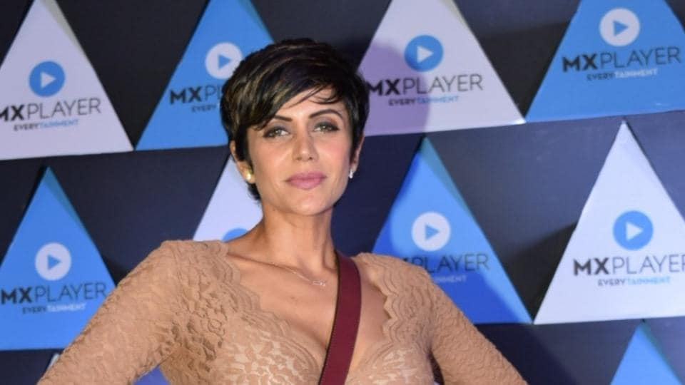 Mandira Bedi at a party organised to celebrate the success of recently launched OTT platform MX Player.
