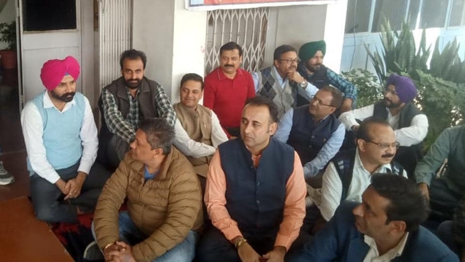 PUTA members holding a protest against the 'lackadaisical attitude of the university administration' outside the vice-chancellor's office at Punjabi University in Patiala on Wednesday.