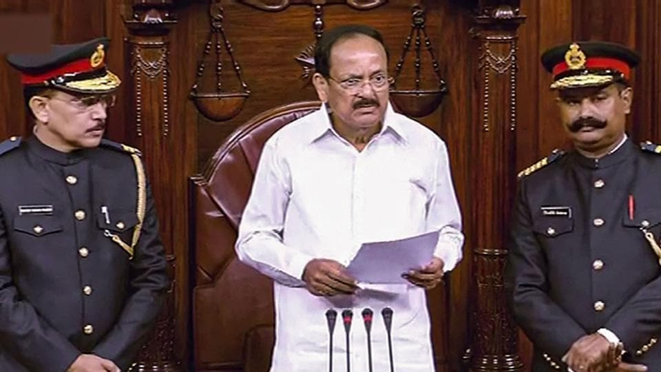 Rajya Sabha Chairman M Venkaiah Naidu addresses Rajya Sabha. Rajya Sabha was adjourned for about three hours till 2 pm on Tuesday amid uproar by Opposition parties.